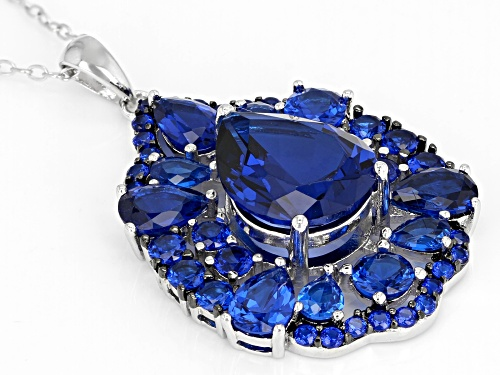 7.55CTW PEAR SHAPE & ROUND LAB CREATED BLUE SPINEL RHODIUM OVER SILVER PENDANT WITH CHAIN
