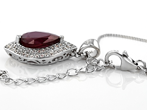 3.60CT PEAR SHAPE MAHALEO® RUBY WITH .36CTW ROUND WHITE TOPAZ STERLING SILVER PENDANT WITH CHAIN