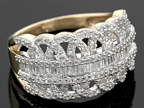 .70ctw Round And Baguette White Diamond 10k Yellow Gold Ring - Size 6