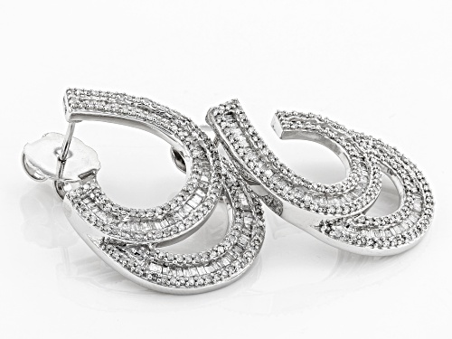 1.75ctw Round And Baguette White Diamond 10k White Gold Earrings
