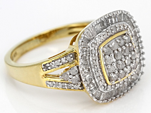 ENGILD(TM) 1.00ctw Round and Baguette White Diamond 14k Yellow Gold over Sterling Silver Ring - Size 7