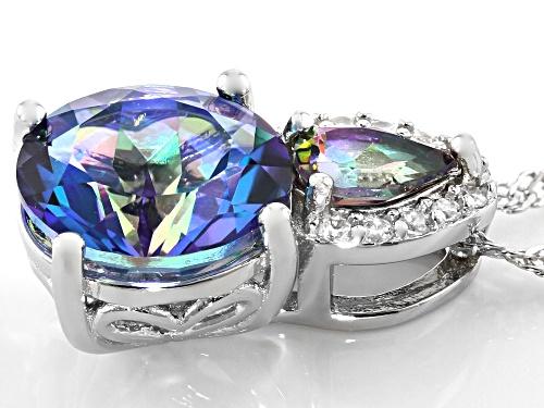 3.25ctw Blue Petalite, Mystic Fire(R) Green Topaz & White Zircon Rhodium Over Silver Pendant W/Chain