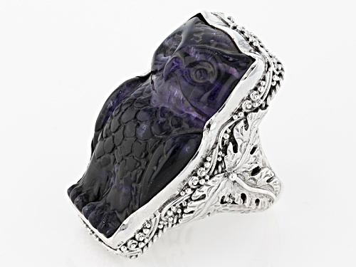 Artisan Gem Collection Of Bali™ 35x21mm Fancy Carved Purple Fluorite Owl Sterling Silver Ring - Size 12