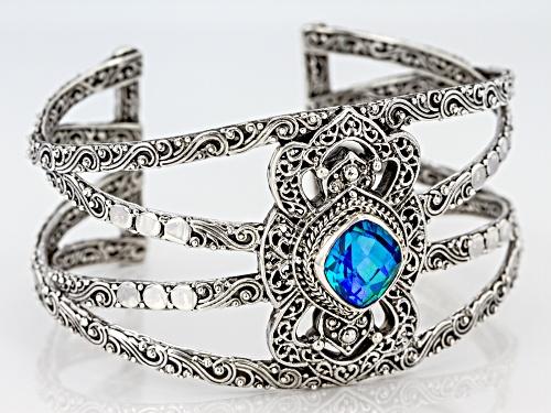 Artisan Collection Of Bali™ 7.40ct Rainbow Paraiba Color Quartz Triplet Silver Cuff Bracelet - Size 7