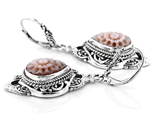 Artisan Collection Of Bali™ 14x10mm Pear Shape Carved Pink Mother Of Pearl Dahlia Silver Earrings