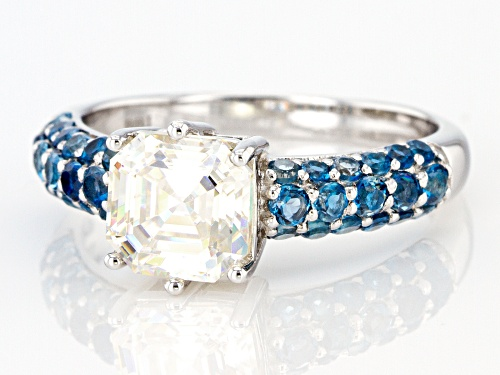 2.40CT ASSCHER FABULITE STRONTIUM TITANATE AND .74CTW LONDON BLUE TOPAZ RHODIUM OVER SILVER RING - Size 9