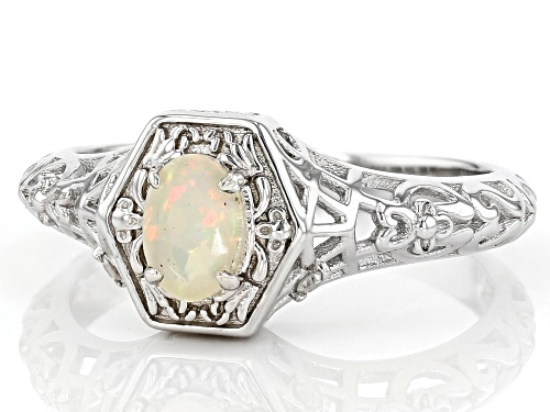 0.31ct Oval Ethiopian Opal With 0.02ctw Round White Diamond Accent  Rhodium Over Silver Ring - Size 8