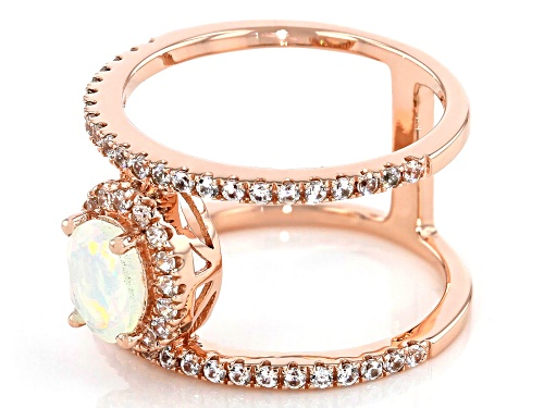.45ct Oval Ethiopian Opal with .51ctw Round White Zircon 18k Rose Gold Over Sterling Silver Ring - Size 8