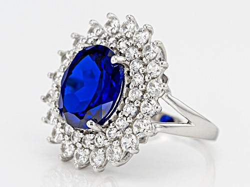 4.25ct Oval Lab Created Blue Spinel With 2.64ctw Round White Zircon Sterling Silver Ring - Size 11