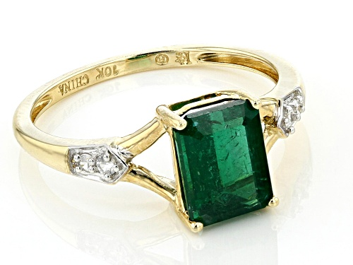 1.60ct Emerald Cut Emerald Color Apatite And .06ctw White Zircon 10k Yellow Gold Ring - Size 7