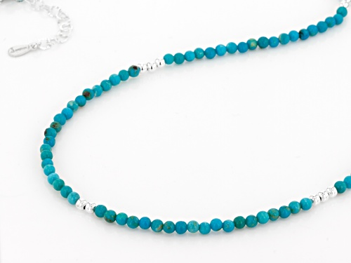Tehya Oyama Turquoise™ 2-3.5mm Round Sleeping Beauty Turquoise Sterling Silver Bead Necklace - Size 22