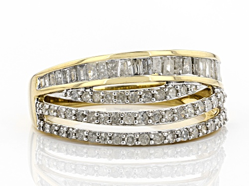 0.84ctw Round And Baguette White Diamond 10k Yellow Gold Ring - Size 7