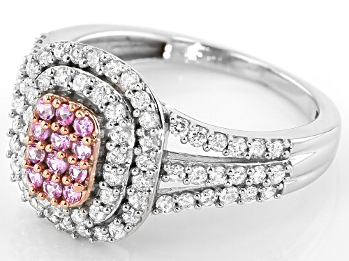 0.16ctw Round Pink Sapphire & 0.79ctw Round White Diamond 10K White Gold Cluster Ring - Size 6