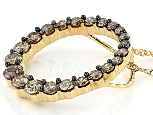 1.35ctw Round Champagne Diamond 10k Yellow Gold Circle Pendant With 18