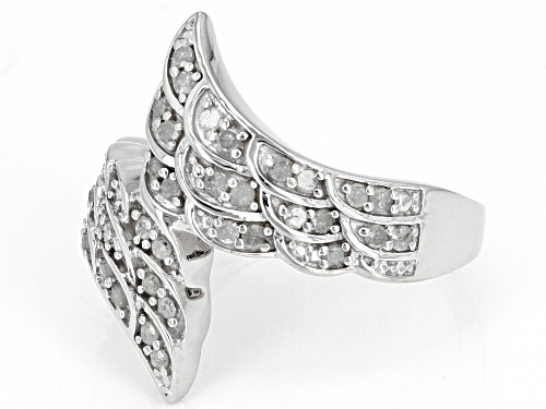 0.50ctw Round White Diamond Rhodium Over Sterling Silver Angel Wing Bypass Ring - Size 6