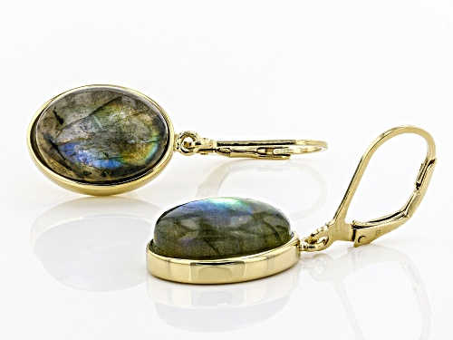14X10mm oval labradorite solitaire 18k gold over sterling silver dangle earrings