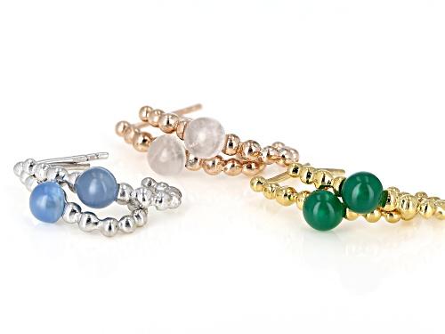 Round Chalcedony, Rose Quartz & Green Onyx Rhodium, 18k Rose & Yellow Gold Over Silver Earrings Set