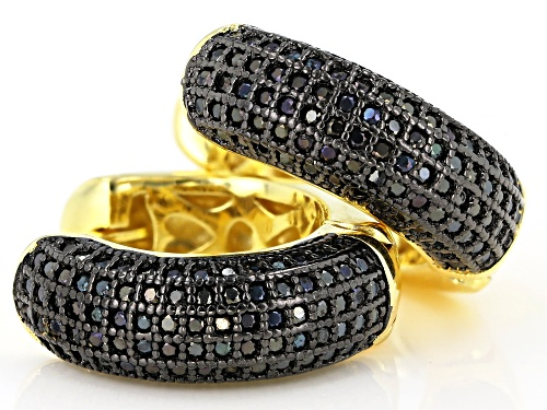 1.10ctw round black spinel 18k yellow gold over sterling silver huggie hoop earrings