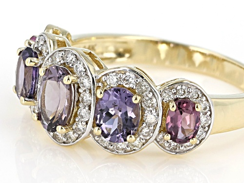 1.36ctw 6x4, 5x4 & 4x3mm Oval Mixed-Color Spinel With .35ctw White Diamonds 14k Yellow Gold Ring - Size 7