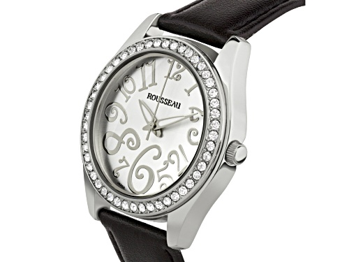 Rousseau Calame Ladies Watch with Leopard Print Genuine Leather Strap and Silver Dial