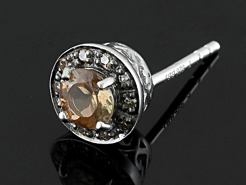 .61ctw Round Andalusite With .08ctw Round Mocha Diamond Accent Sterling Silver Earrings