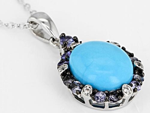 10x8mm Oval Sleeping Beauty Turquoise, .14ctw Zircon & Diamond Accent Silver Pendant W/ Chain