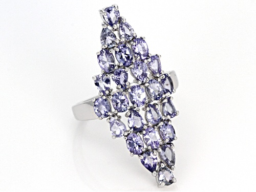 3.33ctw Oval and Pear Shape Tanzanite Sterling Silver Cluster Ring - Size 6