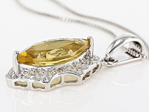 3.27ct Marquise Champagne Quartz With .13ctw Round White Topaz Sterling Silver Pendant With Chain