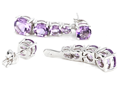 4.00ctw Graduated 3, 4, 5 & 6mm Round Amethyst Rhodium Over Silver Stud & Charm Earrings Set