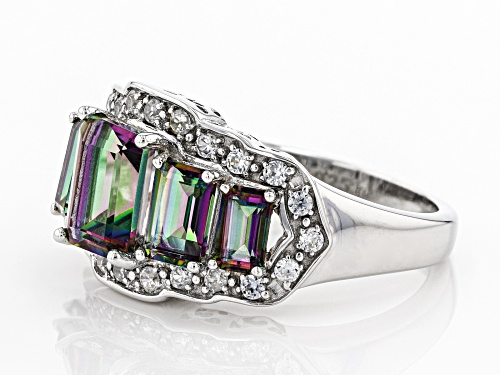 2.73CTW EMERALD CUT MULTI COLOR QUARTZ WITH .43CTW WHITE ZIRCON RHODIUM OVER STERLING SILVER RING - Size 7