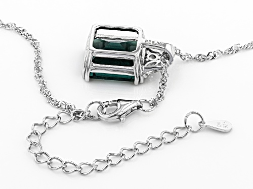 5.95ct Emerald cut Teal Fluorite and .21ctw Topaz Rhodium Over Silver Pendant With Chain