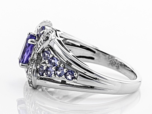 1.25ctw Oval And Round Tanzanite With .02ctw White Diamond Accents Rhodium Over Silver Ring - Size 8