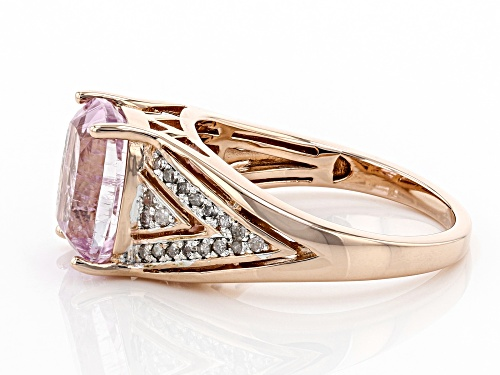 3.08CT RECTANGULAR CUSHION KUNZITE WITH .18CTW ROUND WHITE DIAMONDS 18K ROSE GOLD OVER SILVER RING - Size 8