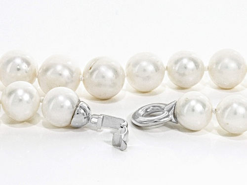 10-13mm Grande White Cultured Freshwater Pearl Rhodium Over Sterling Silver 21 Inch Strand Necklace - Size 21