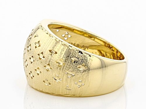 10k Yellow Gold Domed Clover Band Ring - Size 7