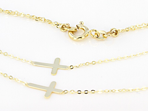 10k Yellow Gold Double Cross Multi-Row 18 inch Necklace - Size 18