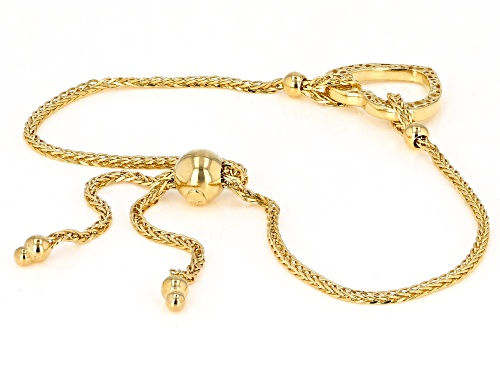 14K Yellow Gold Polished and Textured Heart Wheat Link 9.25 Inch Bolo Bracelet - Size 9.25