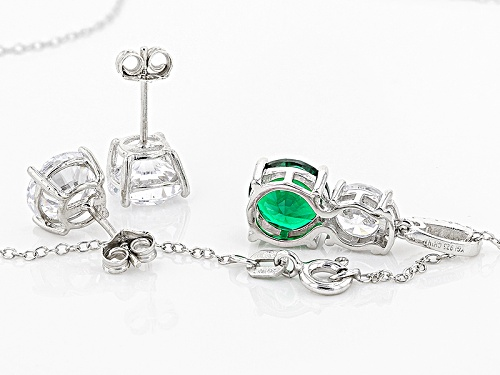 Bella Luce ® 11.80ctw Emerald And White Diamond Simulants Rhodium Over Sterling Jewelry Set