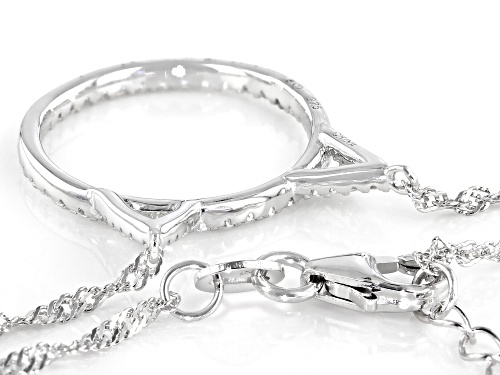 Bella Luce ® 0.57ctw White Diamond Simulant Rhodium Over Sterling Silver Cat Necklace (0.34ctw DEW) - Size 18