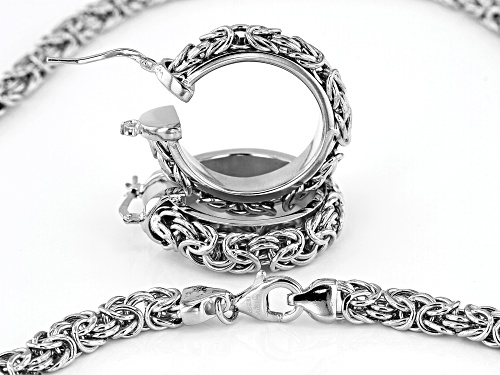 Moda Al Massimo® Rhodium Over Bronze Byzantine Link 20 Inch Necklace And Hoop Earring Set