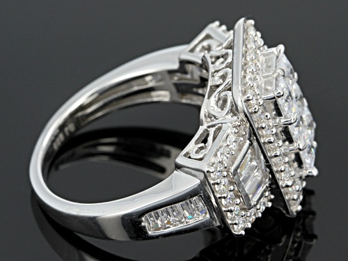 Bella Luce ® 3.60ctw Princess Cut, Baguette And Round Rhodium Over Sterling Silver Ring - Size 5