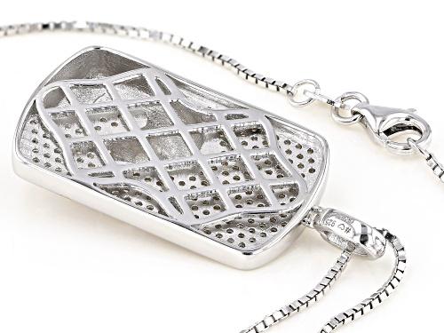 Bella Luce ® 1.30ctw Emerald And White Diamond Simulants Rhodium Over Silver Pendant With Chain