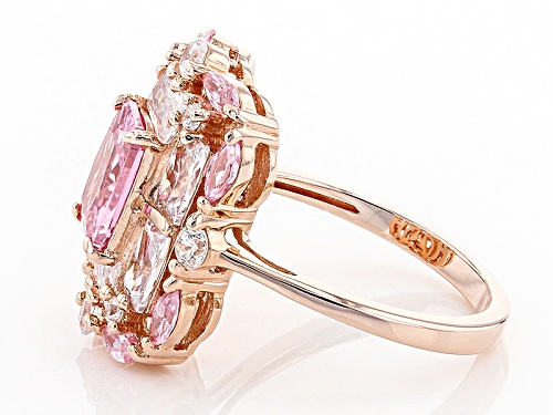 Bella Luce ® 6.87ctw Pink & White Diamond Simulants Eterno ™ Rose Ring (4.84ctw Dew) - Size 5
