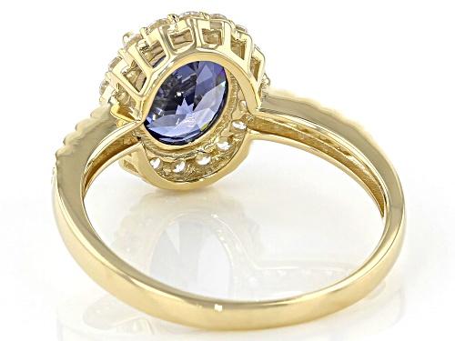 Bella Luce ® 2.95ctw Blue Tanzanite and White Diamond Simulants 10k Yellow Gold Ring - Size 8
