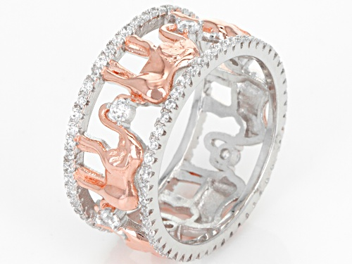Bella Luce® 1.24ctw Eterno™ Rose and Rhodium Over Sterling Silver Elephant Ring (.68ctw DEW) - Size 7