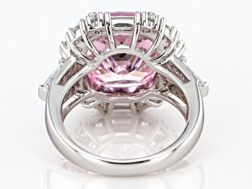 Bella Luce® 19.47ctw Pink and White Diamond Simulants Rhodium Over Sterling Ring (10.53ctw DEW) - Size 7