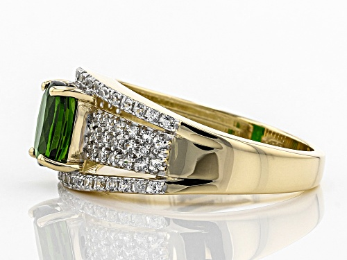 .65ct Rectangular Cushion Russian Chrome Diopside & .49ctw Round White Zircon 10k Yellow Gold Ring - Size 8