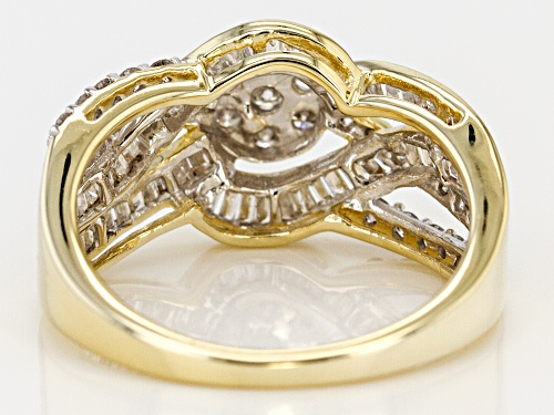 1.00ctw Round And Baguette White Diamond 10k Yellow Gold Ring - Size 8