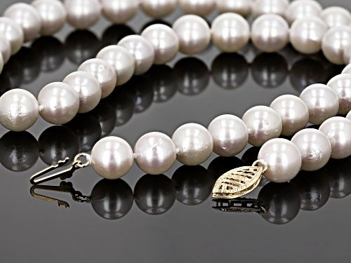 8-8.5mm White Cultured Japanese Akoya Pearl 14k Yellow Gold 18 Inch Strand Necklace - Size 18