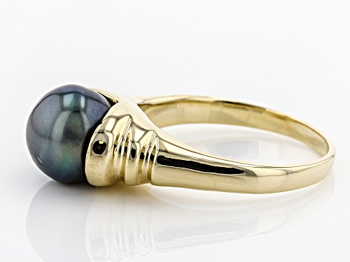 9mm Cultured Gambier Tahitian Pearl, 14k Yellow Gold Ring - Size 8